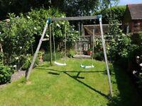 Childrens 2 seat Woodland Leisure wooden Swing.