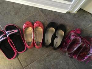 Girls size 12 to 13 shoes and rain boots