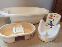 Baby bath, bath seat and top and tail bowl