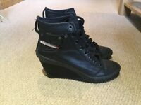 Diesel Industrial Wedge Boots, Size 39
