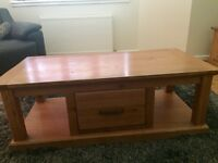 Solid wood coffee table and TV unit