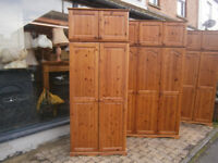 PINE DOUBLE WARDROBE WITH TOPBOX STORAGE ABOVE IN YEOVIL
