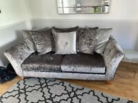 4 seater and 2 seater DFS crush velvet sofas
