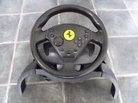 Retro Thrustmaster 360 Modena Special Edition Ferrari Racing Steering Wheel For Playstation 1 & 2
