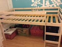 Solid wood children bed frame