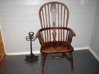 19c ash and elm Windsor armchair