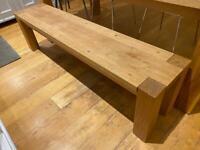 Solid oak wooden bench