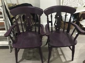 Solid pine arm chairs