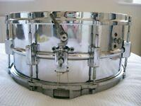 """Vintage NOB snare drum 14 x 6 1/2"""" -3-point strainer - British?"""