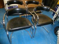 X4 RETRO / VINTAGE DINING TABLE CHAIRS BLACK/CHROME