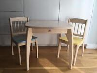 Pintoy Junior Children Whitewashed Pine Wooden Table and 2 chairs