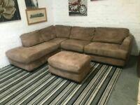 Large Suede Corner Sofa & puffa stool Two Tone Materiel real nice comfy