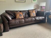 Three seater sofa, armchair and puffet