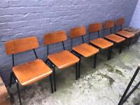 2 x 1950s bentwood stacking chairs mid century industrial retro vintage