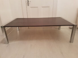 Large Black & Chrome Coffee Table