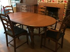 Ercol Large extending Table with Six Chairs