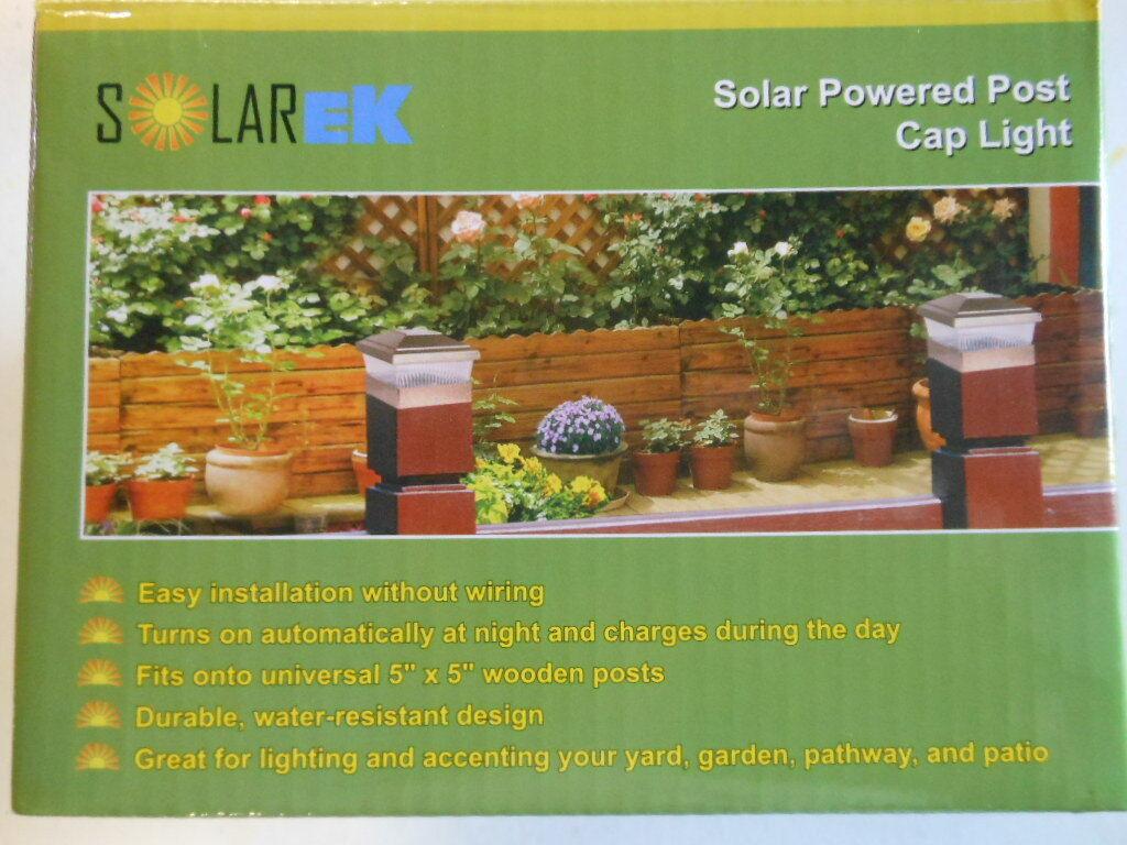 """Solarek Solar Powered Vinyl Fence Post Cap Light, White, 5"""""""