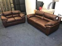 FAMOUS STORE BROWN REAL LEATHER 3 and 2 SEATER SOFA SET THREE PLUS TWO CHEAP BARGAIN EX DISPLAY