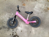 'Strider' balance bicycle / bike; pink, for age 3-5 years, learn to scoot before stabilisers