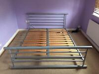 King size silver metal bed
