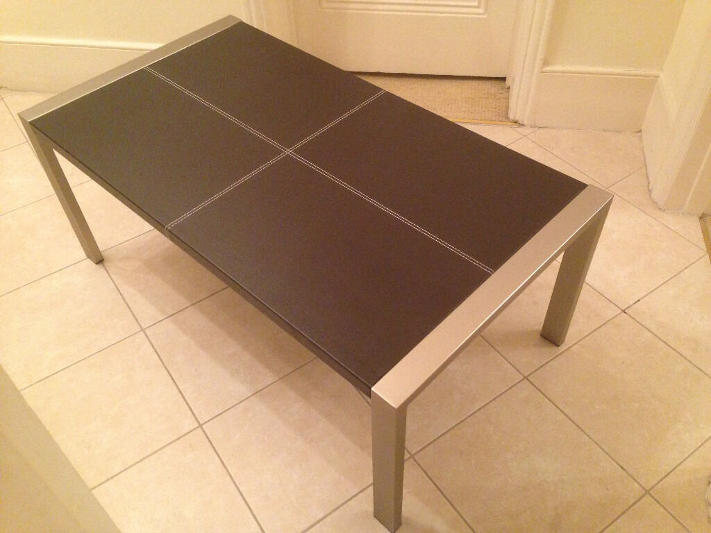 John Lewis Faux Leather Bound And Sched Chocolate Brown Coffee Table With Matte Silver Legs