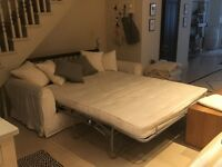 Sofa bed, cream fabric, 6 scatter cushions