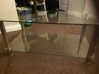 Glass and Chrome tv unit, console table and display unit, great condition £150 for the three.