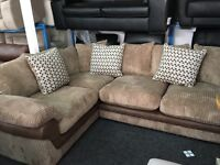 NEW / Ex Display DFS Mink Cord + Half Leather Corner Sofa