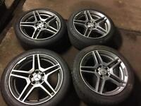"MERCEDES 18"" AMG DIMOND CUT ALLOYS 8MM TYRES"