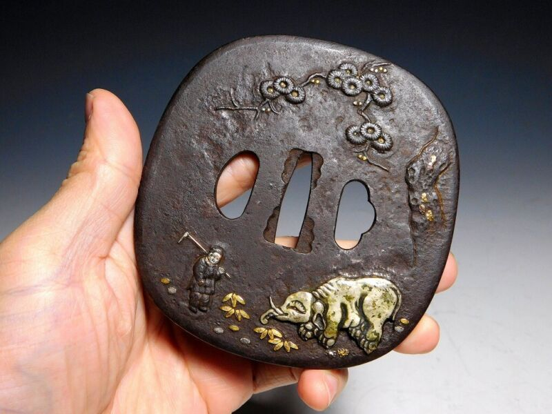 96mm Large Elephant KATANA TSUBA Japan Original Edo Sword Antique