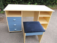 Blue drawer beech effect desk/dressing table with matching stool, and free chest of drawers - £15