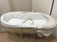 Mothercare Moses basket with white rocking stand