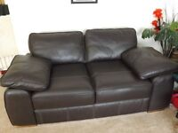 Leather settee large two seater, and chair,