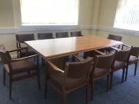 Boardroom table and chairs.