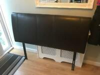 Faux leather brown headboard double