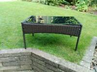 Garden table, dark rattan effect side table