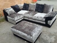 Very nice black &silver crushed velvet corner sofa & footstool.or larger corner.1 month.can deliver