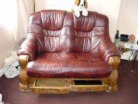 3 Seater, 2 Seater Leather sofas & 1Leather foot stool