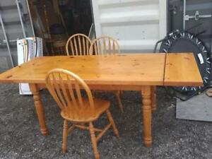 "Oakville 84"" Long SOLID PINE THICK TABLE 2 Leaves Set of 4 Chairs Retro Heavy Big Dining Kitchen Rustic Country Cottage"