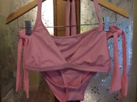 1970s VERY FLATERING, HALTER NECK PINK BIKINI, NYLON AND SPANDEX, TIE NECK AND S