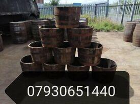 Oak Whisky Barrel Planters