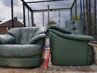 3 seater 1 seater and footstool in good condition