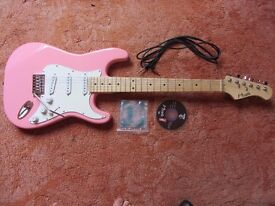 Pink Nevada Electric Guitar - Hardly Used - With Fabric Case, Spare Strings, Cable & DVD