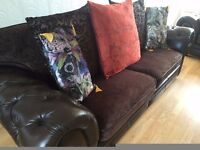 Dark Brown Leather and Fabric Chesterfield Tetrad style 3 seater Sofa DELIVERY