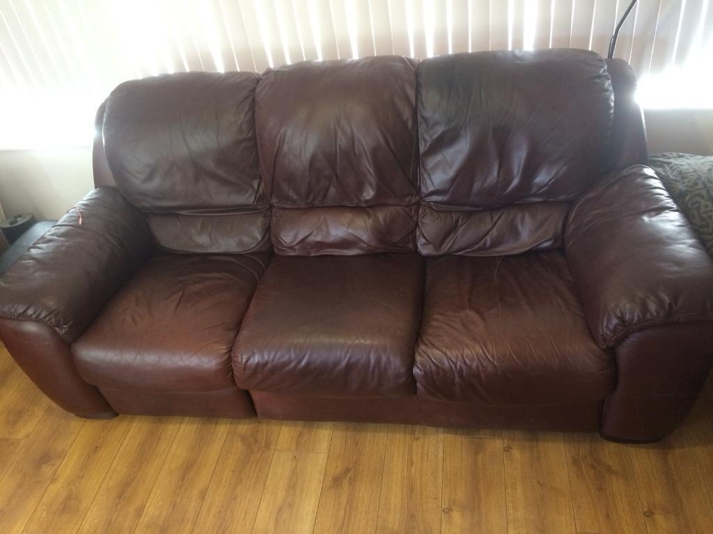 Free Brown 3 Seater Leather Sofa Now Gone In Carryduff
