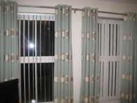 2 pairs of fully lined ring top curtains (hand made) with 4 matching cushions