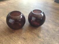 Brown fish bowls