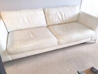 White Leather DFS 4 seater Sofa