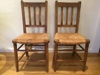 Shabby Chic Wicker Chairs x2