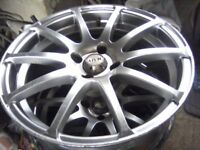 MVK 4-STUD 10 SPOKE 17 INCH POLISHED ALLOY WHEELS CAME OFF CITROEN SAXO VTR SET OF 4.
